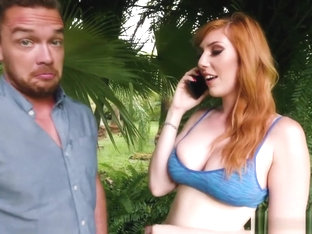 Curvy redhead babe Lauren Phillips gets her cunt smashed in the shower