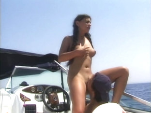 Sucking cock on the boat between his rocks