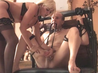 Hot blond mistress skyler ball kicking