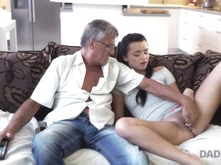 DADDY4K. Middle-aged man has fun with son's unsatisfied girlfriend