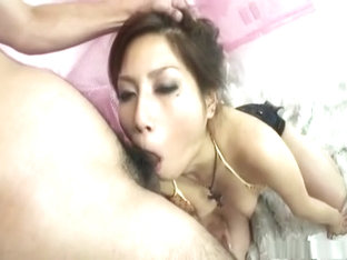 Daiya Nagare sucks cock and gets fed with cum
