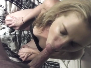 Blonde Gets a Mouthful as a Result of Her Blowjob Skills