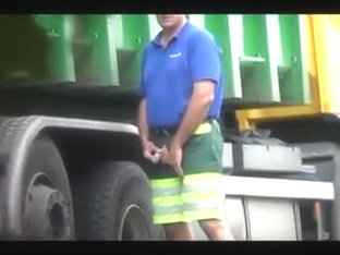 Truckers take a piss