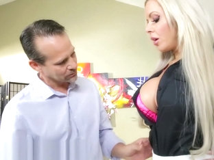 Beautiful blonde MILF Nina Elle sells a house with her oral acrobat skills