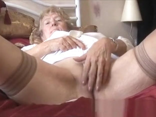 curly granny with dark stocking