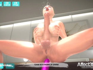 Big tits girl have solo pleasure in the mobile game