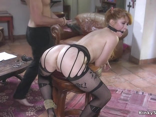 Sub in fishnets whipped and anal banged