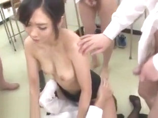 Japanese teacher cumshotted by the entire class