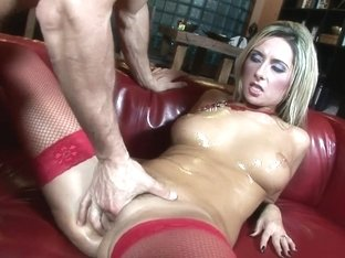 Breasty Daria Glower in Red Nylons
