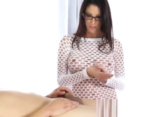 Slutty masseuse stroking