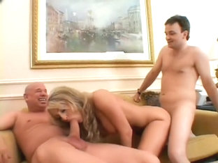 Busty blonde housewife gets fucked by two studs and her husband watches
