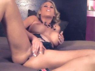 Blonde charisma Cappelli rubs her shaved pussy with toys