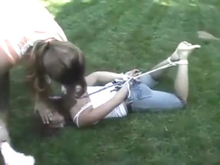 Garden girl hogtied, gagged and tickled