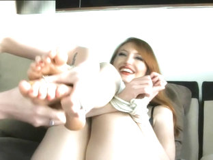 Kendra James rope-tied for Tickling