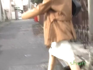 Unfortunate Asian milf got skirt sharked on her way home