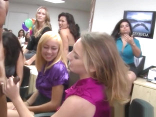 Classy Cfnm Babes Cocksucking At Office Party