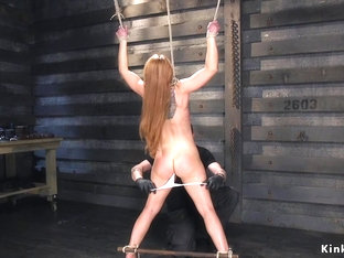Brunette hogtied and whipped and caned