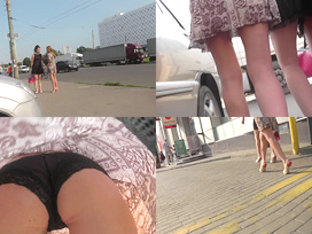 Upskirt footage of a hot chick in classic panties