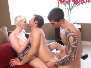 Enticing blonde babe joins two gorgeous boys for a bisexual threesome