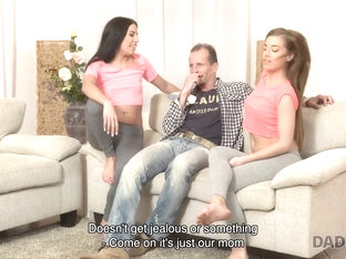 DADDY4K. Slutty young girls fucked by mom's old lover behind her back