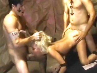 Two Men Fuck Blonde Slut In All Holes