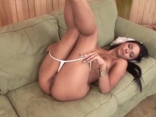 Beautiful girl Angel Pink is drilling her wet cunt