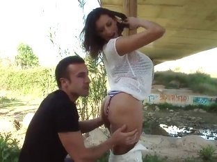 Heavy chested milf Sensual Jane gives head outdoor