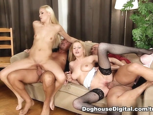 Fabulous pornstars Denisa Heaven, Bella Karina in Incredible Group sex, Stockings adult scene