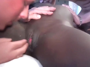 Attractive black girl with perky boobs gets nailed by two white boys