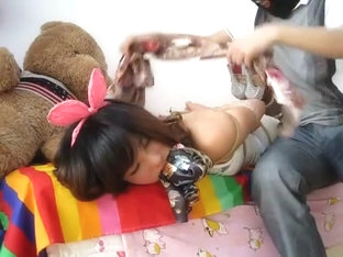 Asian Bunny Scarf Bondage