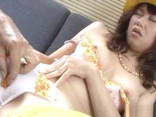 Oriental Licks Her Tits While Fondling Her Hairy Cookie