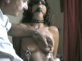 Painful nipple training for a submissive slut wife