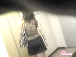 Elevator sharking event with tall long-legged bimbo being caught off her guard