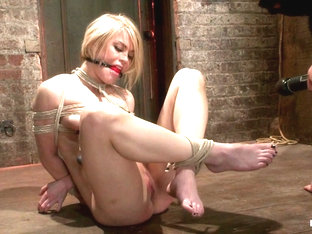 Hot Blond's Nipples Are Abuse, Feet Tickled,  Pussy Fucked With A Stick, Made To Cum Like A Whore..