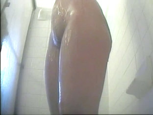 Hidden shower videos show a hot bodied chick soaped up.
