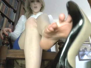 Under desk foot worship pov