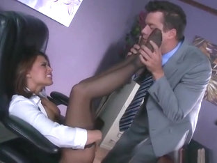 Lovely busty asian Eva Angelina making an amazing foot feish video