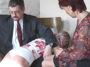 Mom and Dad give the 2 naughty daughters a good spanking