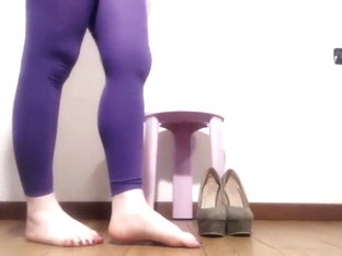 feet fetish, high heels, leggings, nails with nail polish