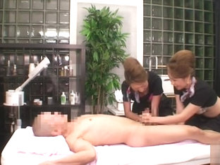 Massage session turns into threesome orgy with two maure Japanese woman