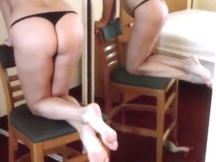 Sexy red mules and feet play in front of mirror