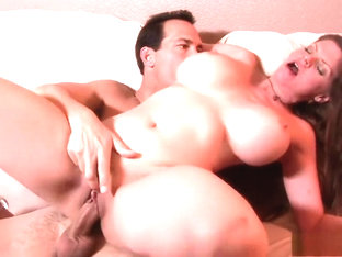 Big tit June Summers gets a crazy pussy ride and cum on her thighs