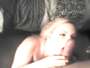 Mesmerizing blonde gives a superb blowjob and gets facializ
