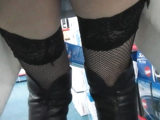 Fishnet stockings upskirt without panties