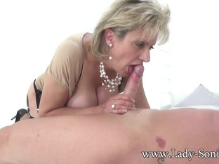 Hot Euro MILF jerks off hung stud and savors his cum - LadySonia