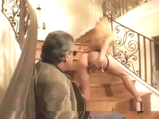 Jessica Drake lesbian strap on session in the stairs