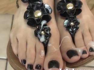 Lelu Love-Sandals Black Nails Footjob