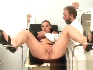 Busty young brunette has a horny old doctor drilling her hairy peach