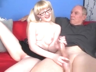 Geeky Teenager Wanking An Old Guys Cock