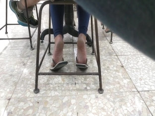 Candid soft crunch soles girl foot in flip flops mature feet